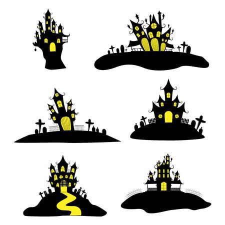 Halloween Castle or haunted house church and other buildings icon set isolated on white background, used for festive decorations