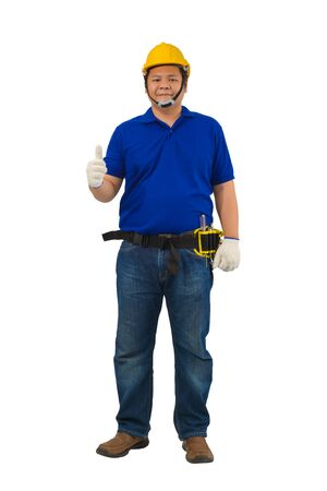 construction man workers in blue shirt with Protective gloves, helmet with tool belt and Thumbs up isolated on white