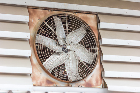 conditioned: Old dirty ventilation fan Stock Photo