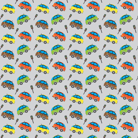 car pattern: Seamless cute car pattern and Traffic lights