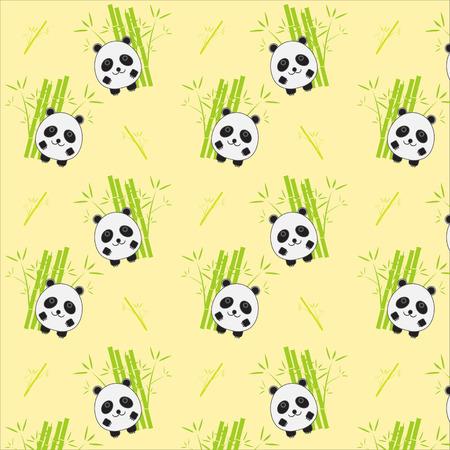 oso panda: De fondo sin fisuras con la ilustración de panda de la historieta. Panda y el patrón de bambú.