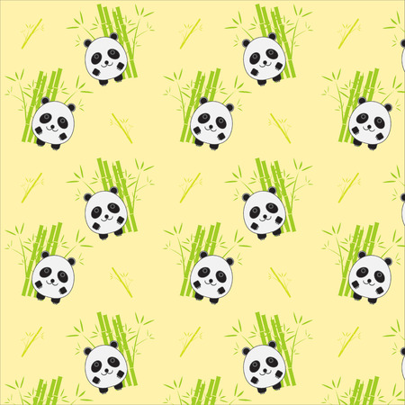 panda: Seamless background with cartoon panda illustration. Panda and bamboo pattern. Illustration