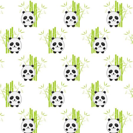 oso panda: De fondo sin fisuras con la ilustraci�n de panda de la historieta. Panda y el patr�n de bamb�.