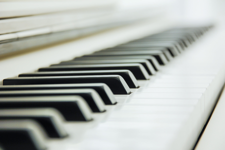 Close-up of Piano Keyboard centred on Ab with plenty of white space Archivio Fotografico