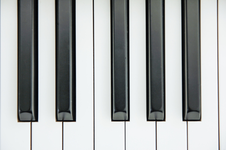 synthesiser: Close-up of Piano Keyboard centred on Ab with plenty of white space Stock Photo