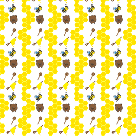 bee: Seamless pattern with bears, bees and honey