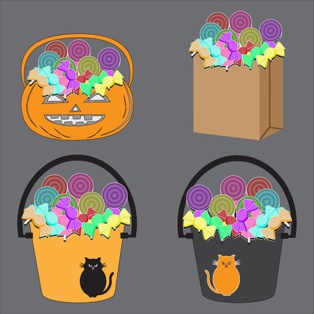 indulgence: Tricks or Treats Halloween Jack O Lantern. Vector Illustration of Festive Basket with Sweets
