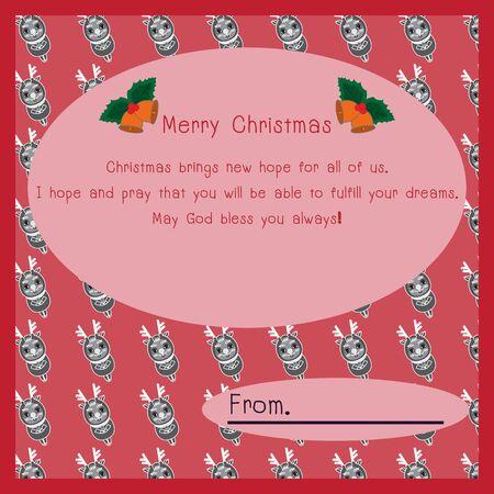 postcard background: Merry Christmas postcard ornament decoration background Illustration