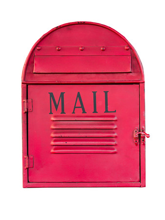 post mail: Red mail box over a white background