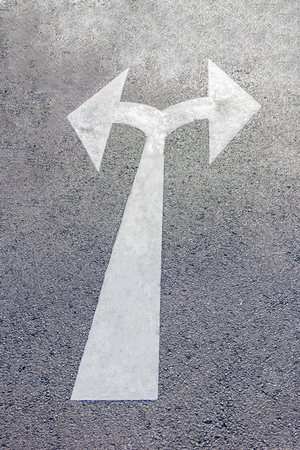 two way: A two way arrow symbol on a black asphalt road surface.
