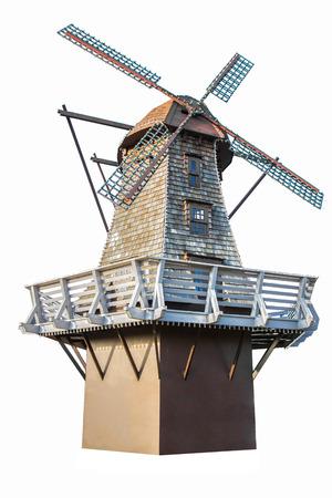 aero generator: Windmill standing in white isolated background Stock Photo