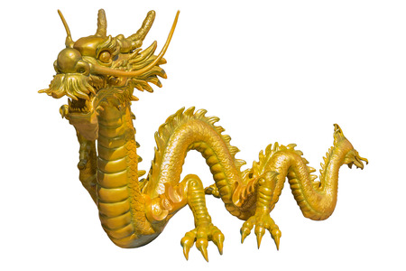 chinese new year dragon: Giant golden Chinese dragon on isolate background Stock Photo
