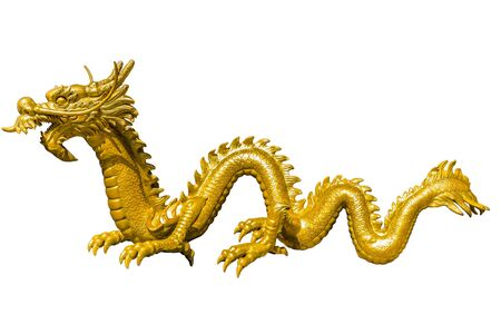 china art: Giant golden Chinese dragon on isolate background Stock Photo