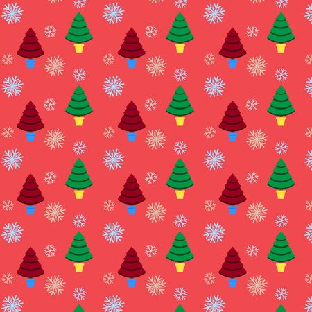yea: Seamless pattern with Christmas tree and snowflake for winter holidays design Illustration