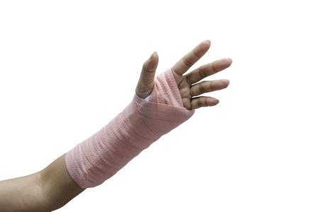 splint: F�rula, hueso roto, fractura en la mano aislado en el fondo blanco Foto de archivo