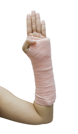 splint: Splint,broken bone,broken hand isolate on white background