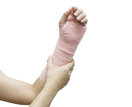 splint: Férula, hueso roto, fractura en la mano aislado en el fondo blanco Foto de archivo