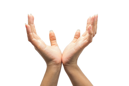 Due mani isolate su priorità bassa bianca
