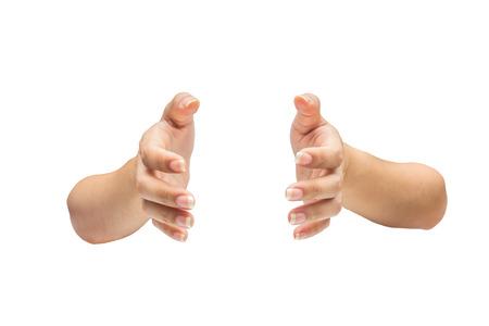 Twee handen geïsoleerd op witte achtergrond Stockfoto