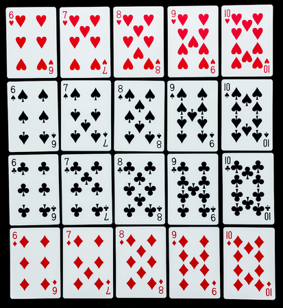queen of hearts: Poker set with isolated cards on black background