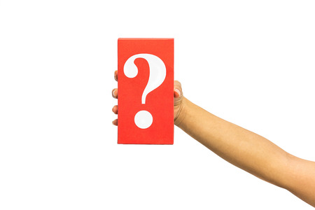 internet mark: hand holding mysterious box over white background Stock Photo