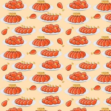 hot chick: vector illustration fried chicken legs seamless pattern Illustration