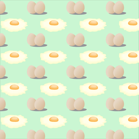 sunny side up: vector illustration pattern of fried eggs Illustration