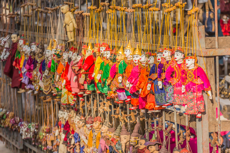 ethnology: Traditional handicraft puppets are sold in a shop in Bagan, Myanmar Stock Photo