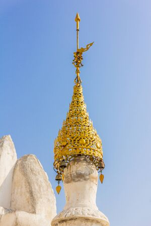 tilted view: Botataung Pagoda in Yangon, Myanmar (former Burma). Tilted view, shot in the afternoon. Stock Photo