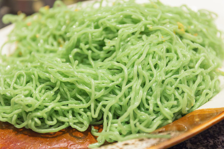 chinese noodle: green noodle with Fried garlic