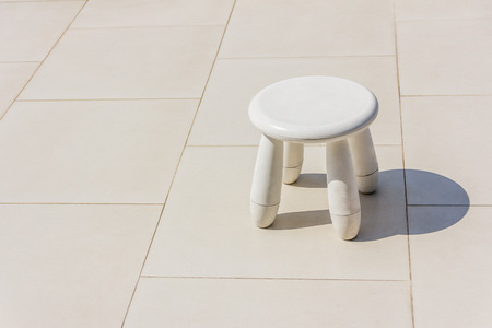 stool: Old baby white plastic stool