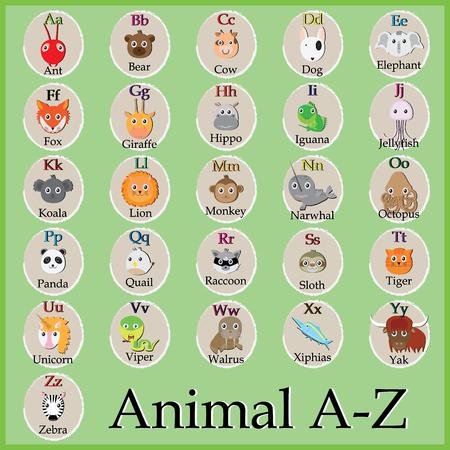 u  s  a: Cute animal alphabet. Funny cartoon character. A, B, C, D, E, F, G, H, I, J, K, L, M, N, O, P, Q, R, S, T, U, V, W, X, Y, Z letters Illustration
