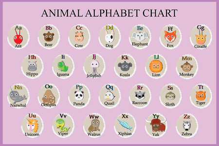 d a r e: Cute animal alphabet. Funny cartoon character. A, B, C, D, E, F, G, H, I, J, K, L, M, N, O, P, Q, R, S, T, U, V, W, X, Y, Z letters Illustration