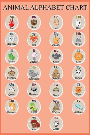 Cute animal alphabet. Funny cartoon character. A, B, C, D, E, F, G, H, I, J, K, L, M, N, O, P, Q, R, S, T, U, V, W, X, Y, Z letters Illusztráció