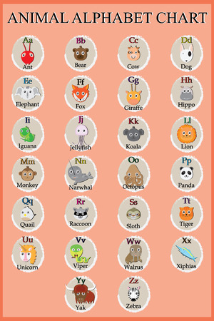 Cute animal alphabet. Funny cartoon character. A, B, C, D, E, F, G, H, I, J, K, L, M, N, O, P, Q, R, S, T, U, V, W, X, Y, Z letters Illustration
