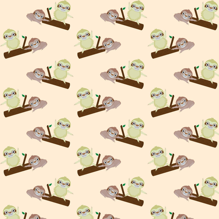 laziness: Vector seamless pattern with cute cartoon sloth Illustration