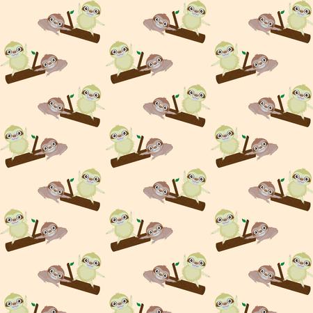 sloth: vector sin patrón con pereza linda de la historieta Vectores