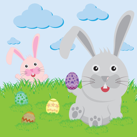 vector cartoons: Easter bunny playful with painted eggs