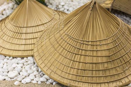 wicker work: Traditional Thai farmer hat vintage style.