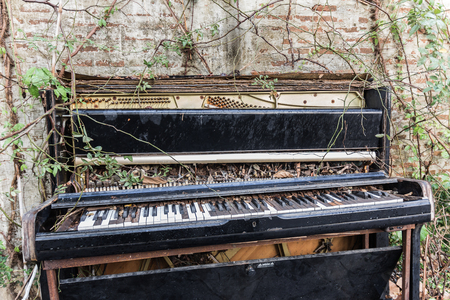 old piano: old piano with concrete wall and leaf Stock Photo