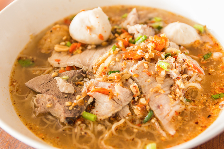 thai noodle soup: Thai noodle soup,Tom Yum , Thai Food Stock Photo