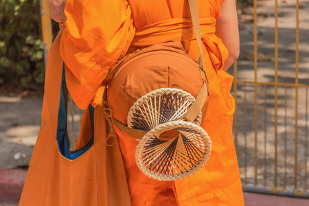 Buddhist monks alms bowl, thailand