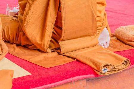 religious clothing: closeup on buddhist monk sole of the foot during praying ceremony, Thailand