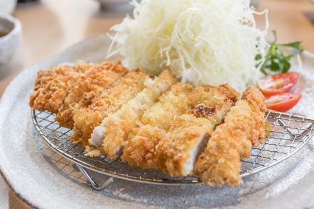 breaded: breaded pork cutlet, japanese food style tonkatsu Stock Photo