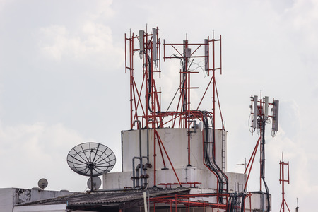 Satellite damaged and antenna on the old building.