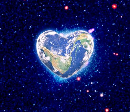 universal love: The earth in the shape of a heart Foto de archivo