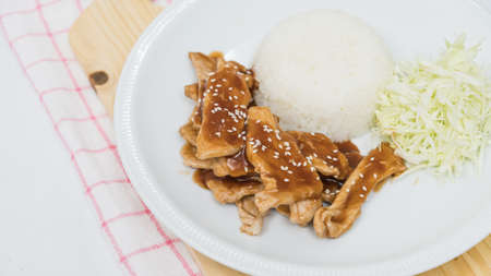 Closeup of rice and fresh fried pork with sesame, thai food Stock Photo