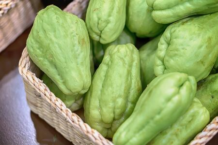 Fresh natural and organic of chayote fruits Stock Photo