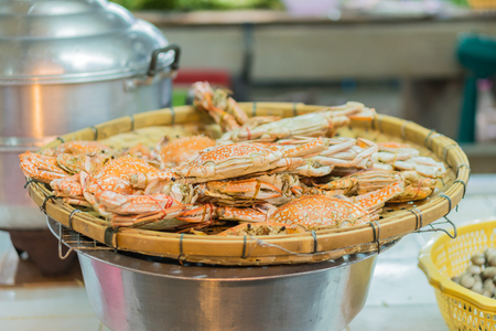 Steamed giant crabs in crab market Stock Photo