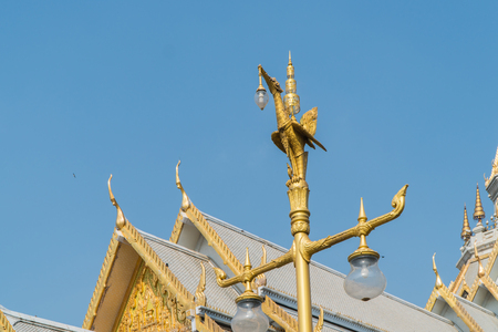 marble churchtemple Wat Sothorn, landmark in Chachoengsao with sky background. Travel in Thailand